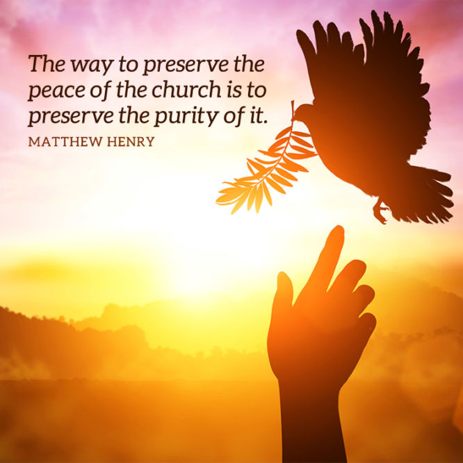 The way to preserve the peace of the church is to...
